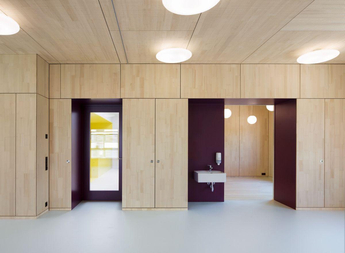 Double Kindergarten In Switzerland Designed By Singer Baenziger Architects Ply Lining Perforated On Ceiling For Acoustics Architekt Neubau Umbau