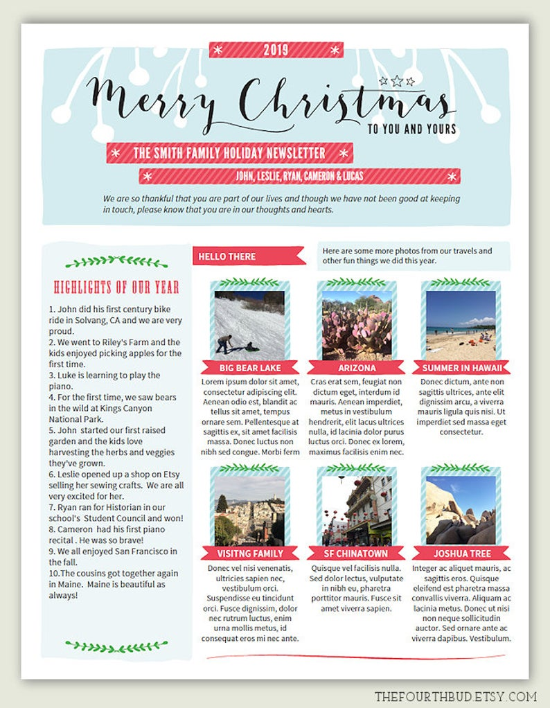 Year In Review / Christmas Newsletter Template in PDF For