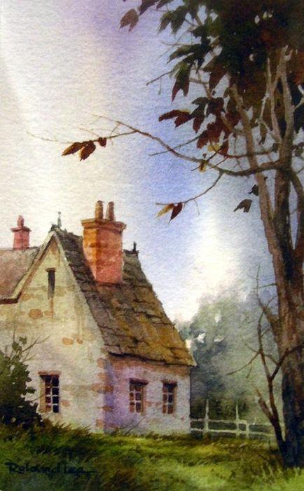 Country Watercolor Akvarel M Sta Z Kout Pinterest