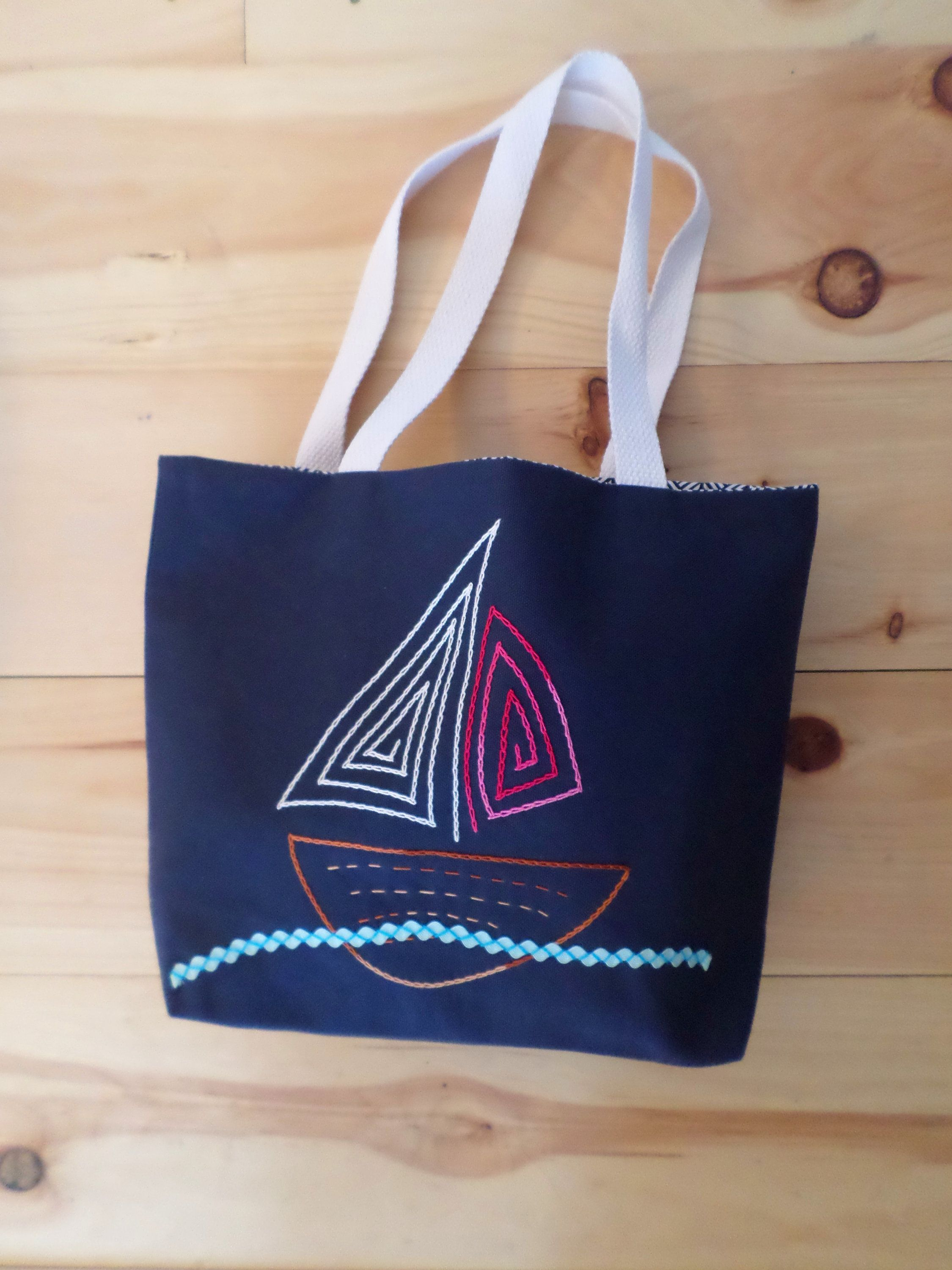 62adf8d3b7f66b Sail Boat Tote Bag / Hand Embroidered Purse / Navy Blue Cotton Duck Canvas  / Unique