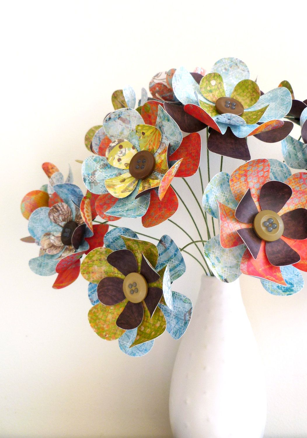 Paper Flower Bouquet  Patterned Brights Red Green Brown Blue  How
