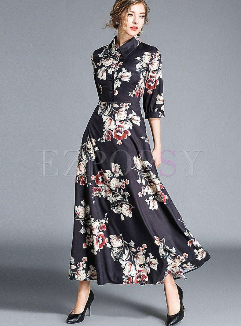 Vintage Print High Waist Lapel A Line Maxi Dress Maxi Dress Maxi Swing Dress Beautiful Maxi Dresses [ 1066 x 789 Pixel ]
