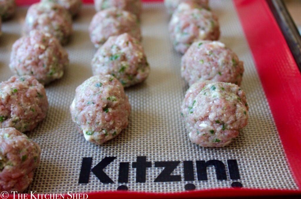Clean Eating Turkey Pesto Feta Meatballs - The Kitchen ...