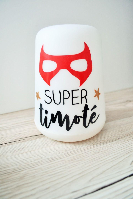 Lampe De Chevet Personnalisee Theme Super Heros Decoration Pour