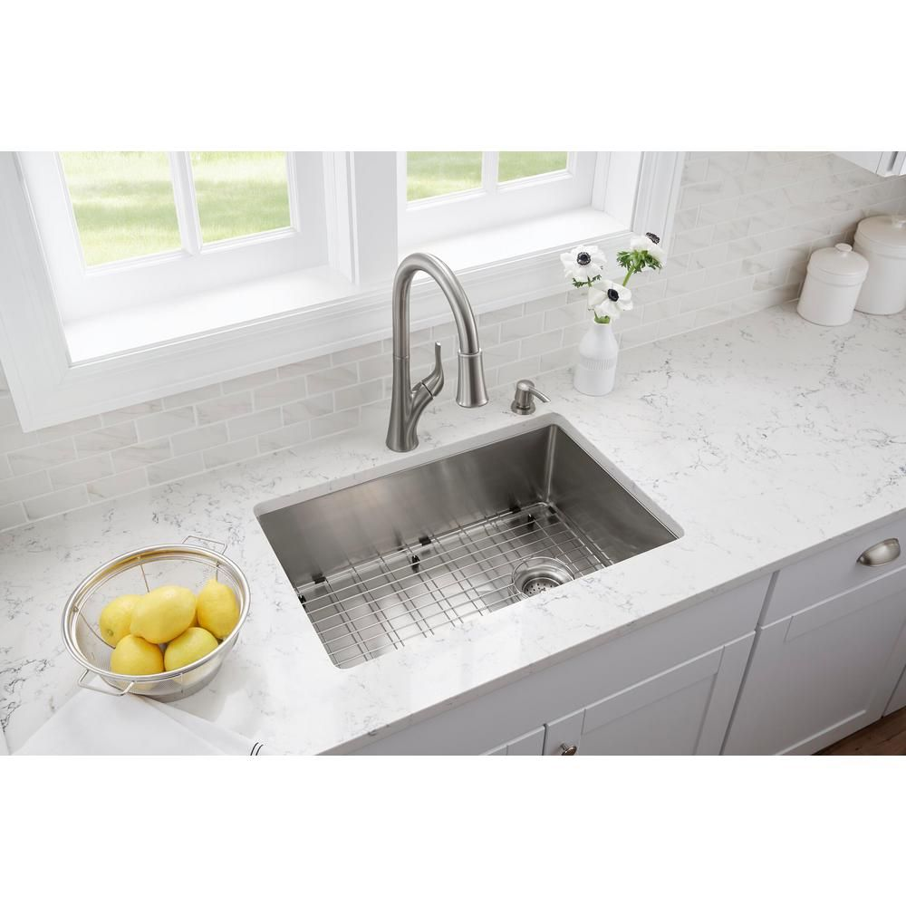 Glacier Bay All In One Brushed Stainless Steel 27 In 18 Gauge Tight Radius Single Bowl Undermount Kitchen Sink With Faucet Fsur2718b1 The Home Depot Corner Sink Kitchen Single Bowl Kitchen Sink Industrial Kitchen