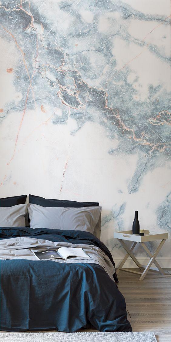 Deep Blue Clouded Marble Wall Mural - Slaapkamer, Slaapkamer behang ...