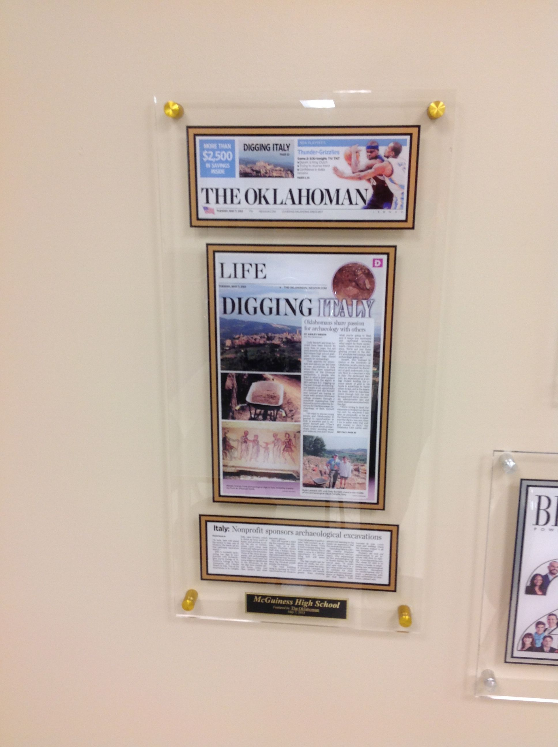 Scrapbook ideas newspaper articles - Framing A Newspaper Article With An Acrylic Style Plaque For Display Gold Stand Off Mounting