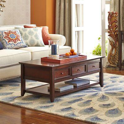Ashington coffee table mahogany brown 350 living room - Round glass tables for living room ...