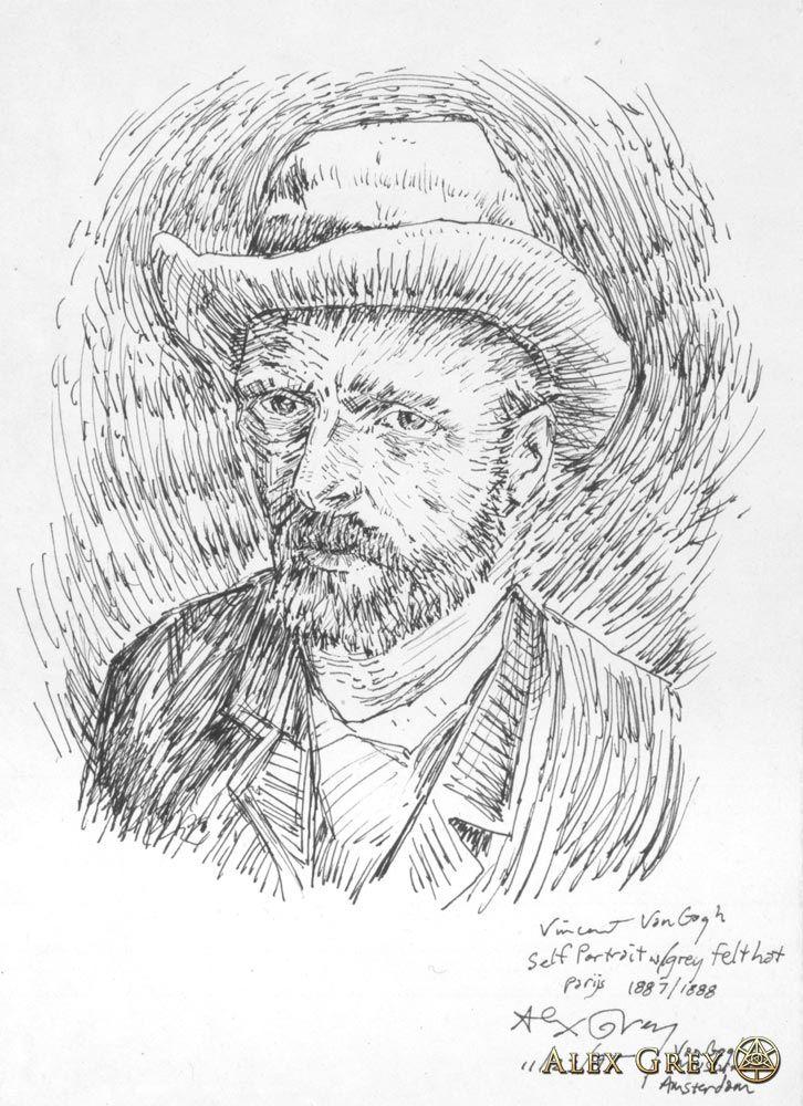 Line Drawing Van Gogh : Van gogh self portrait study by artist alex grey