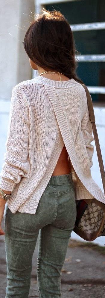 Open Back Full Sleeves Sweater With Khaki Grunge Skinnies