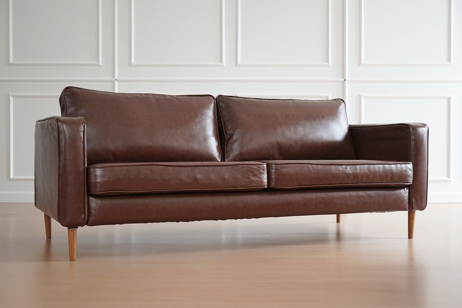 Ikea Karlstad Sofa In Urbanskin Chestnut Brown Leather Slipcovers By Comfort Works Click To Buy Couch Covers In Ikea Karlstad Sofa Karlstad Sofa Sofa Covers