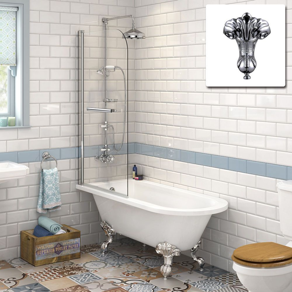 Traditional Roll Top Bath 6mm Shower Screen Our Stylishly Designed Traditional Bath Comes With A Clever Back To Wall Design That Victorian Bathroom Traditional Bathroom Small Bathroom