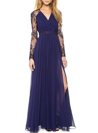 2ff72494f7 Women's Long Sleeve Maxi Dress - Midnight Blue / Classic Grecian Concept