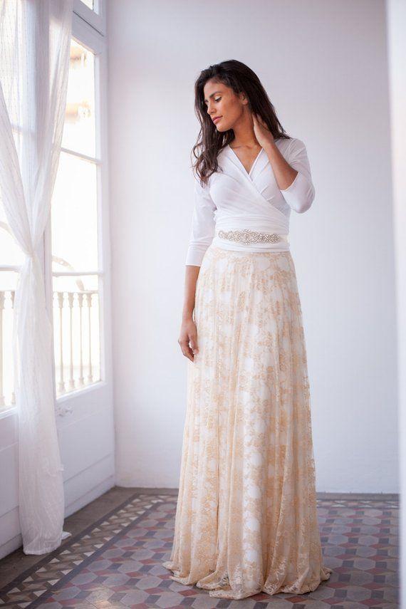 53577f34e6e Detachable lace skirt for wedding dress