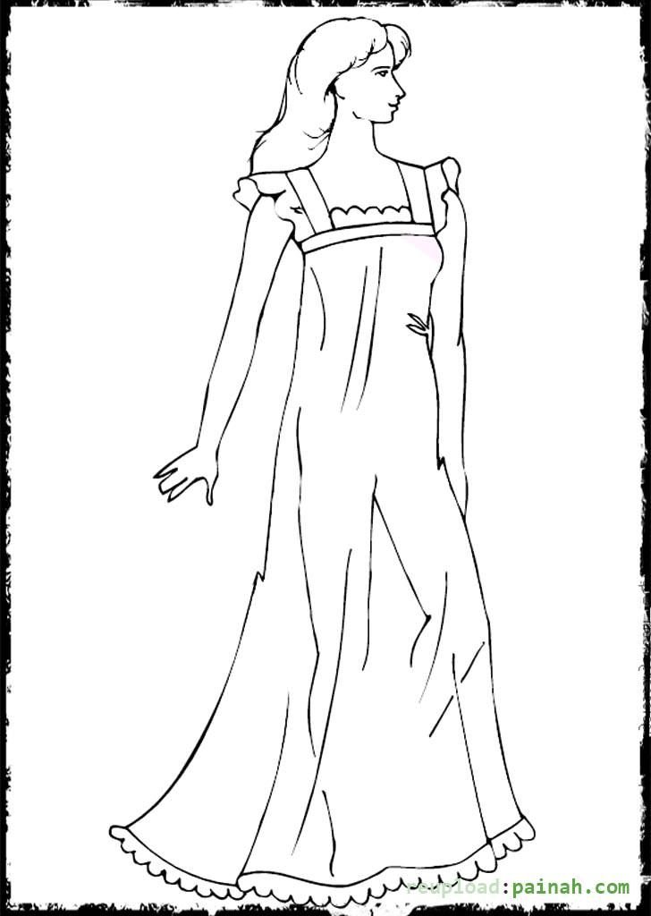 Fashion Coloring Pages for Girls Simple Dress | fashion coloring ...