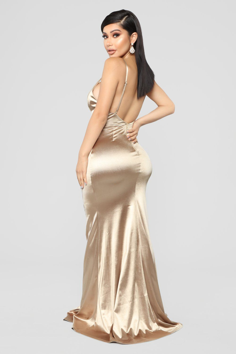 d601abbf Temporary Love Satin Mermaid Dress - Gold in 2019 | Curves | Dresses ...