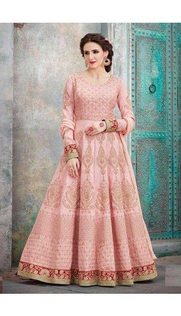 c2ff0bf6c6  Wedding Pink Art Silk Anarkali Suit With Dupatta - DMV14921 http   www