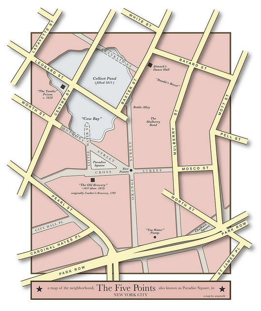 A Map of The Five Points neighborhood in New York City and its