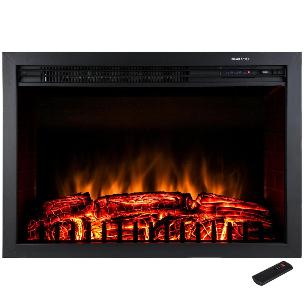 29 In Freestanding Electric Fireplace Insert Heater In Black With Tempered Glass And Remote Con Electric Fireplace Insert Fireplace Inserts Electric Fireplace
