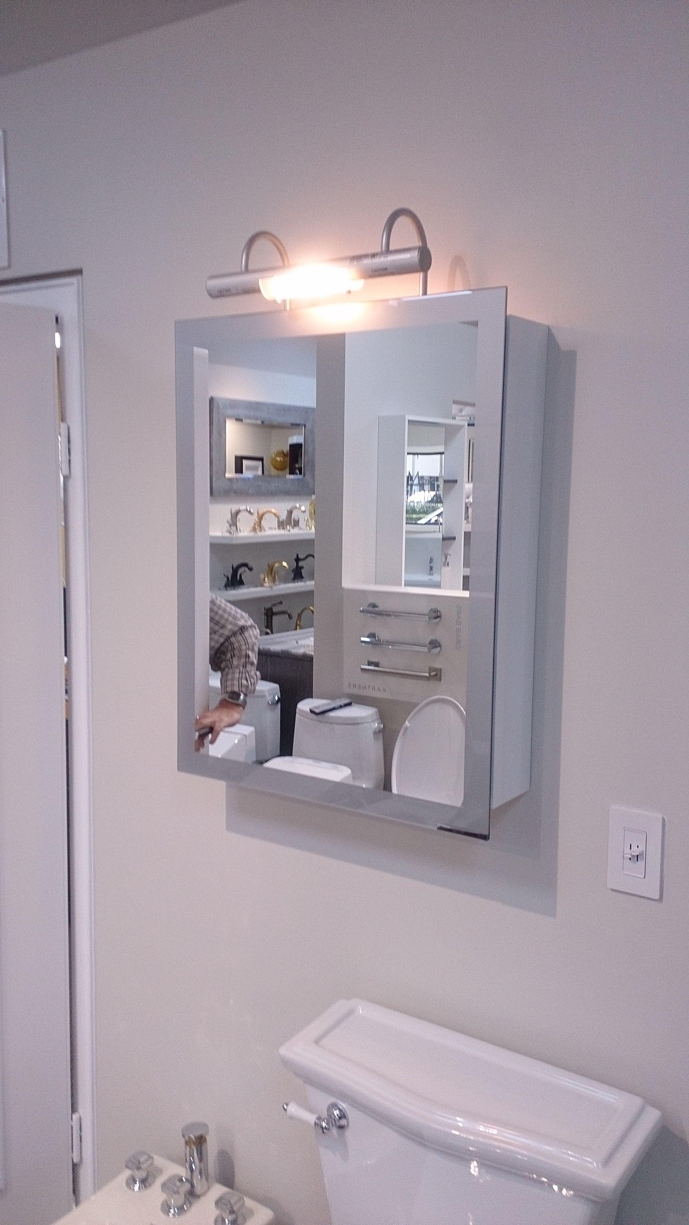 Sidler Axara Medicine Cabinet With Built In Halogen Lights On Display At Millers Elegant Hardware