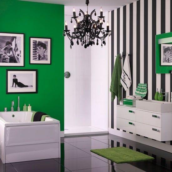 Wohnideen Badewanne Streifen Grün Eklektisch
