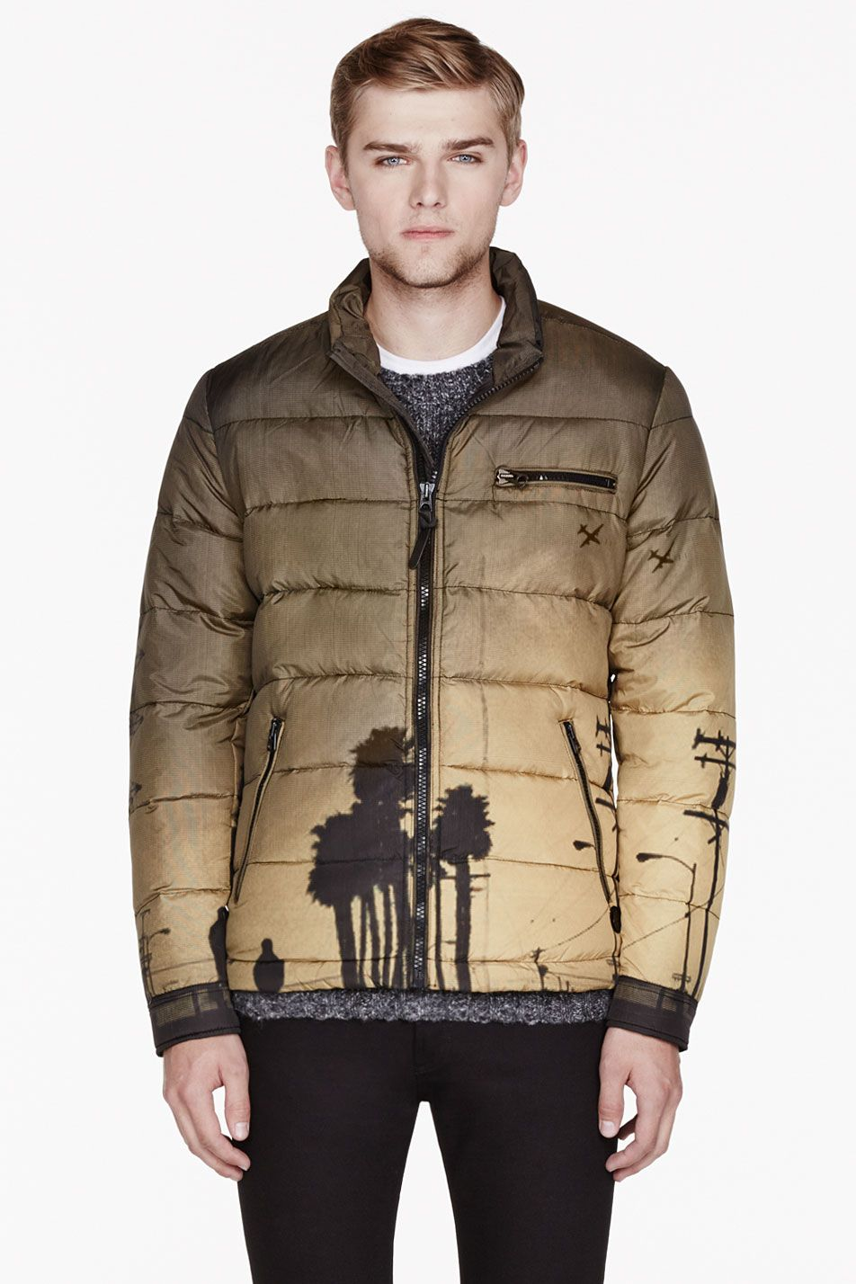 Diesel yellow khaki quilted palm tree main jacket