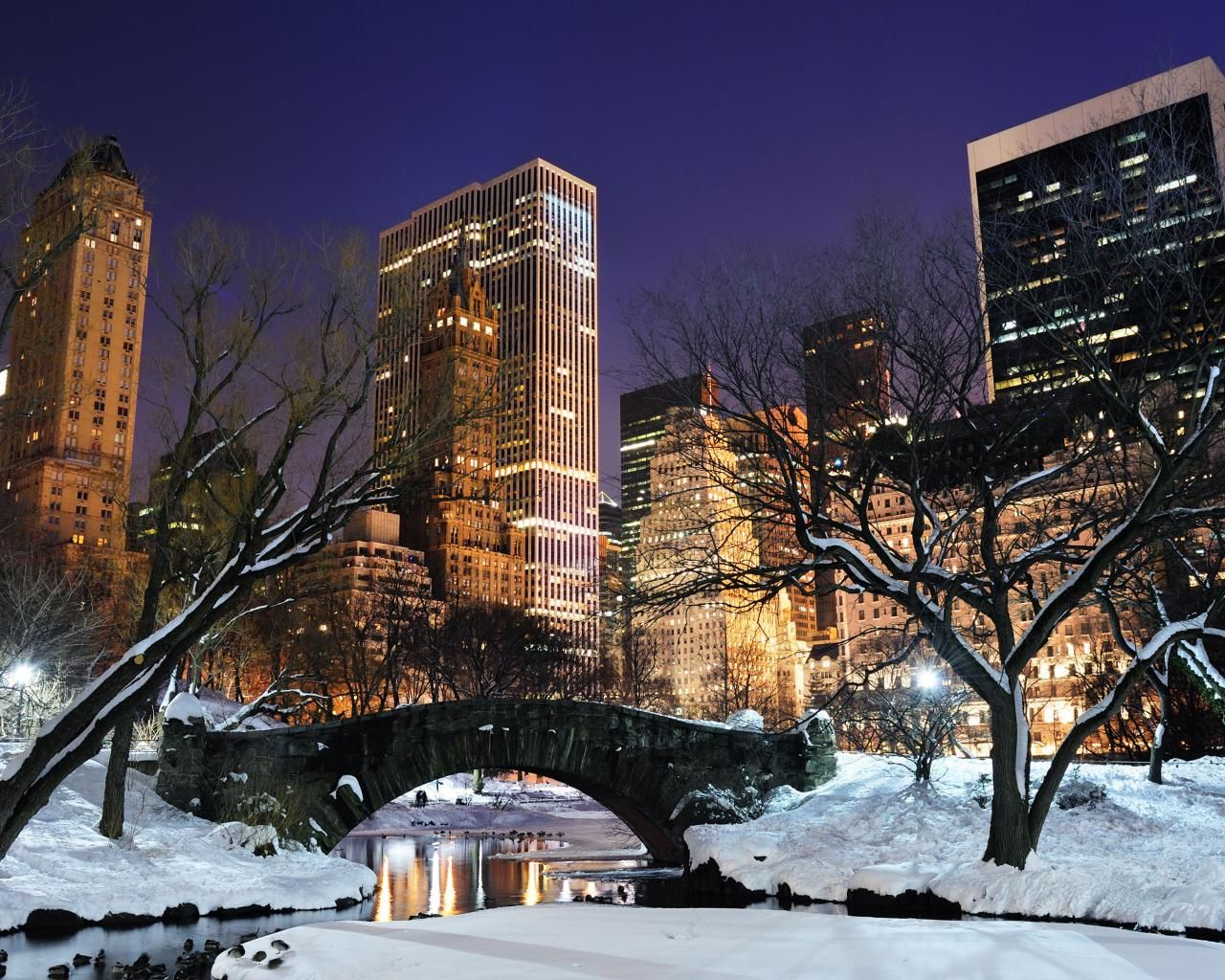 Nyc at night central park central park winter night nyc computer hd wallpaper 1280x1024 px - Snow night city wallpaper ...