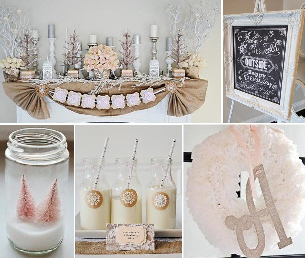 From kara s party ideas rustic dessert table display designed by - Winter Wonderland Girl Snow 1st Birthday Party Planning Ideas