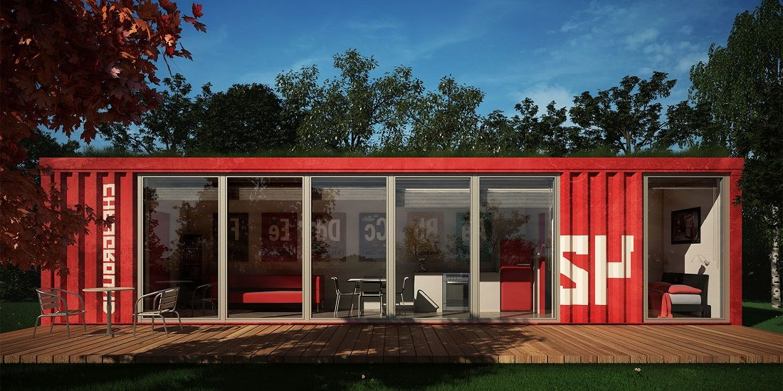Large Size Cute Shipping Container Home With Glass Windows And Simple Sliding Door Container House Plans Shipping Container Home Designs Container Homes Cost