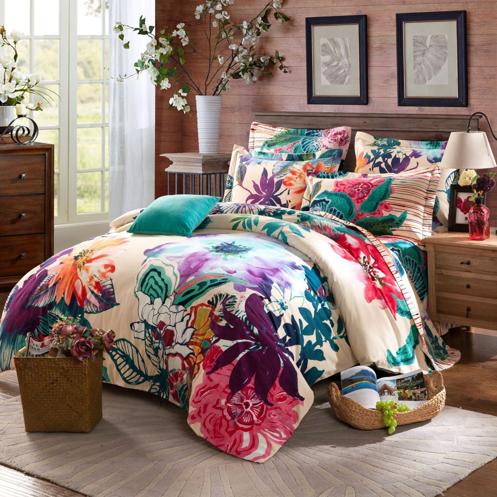 Twin full queen size 100 cotton bohemian boho style floral bedding sets girls comforter sets Queen size bed and mattress set