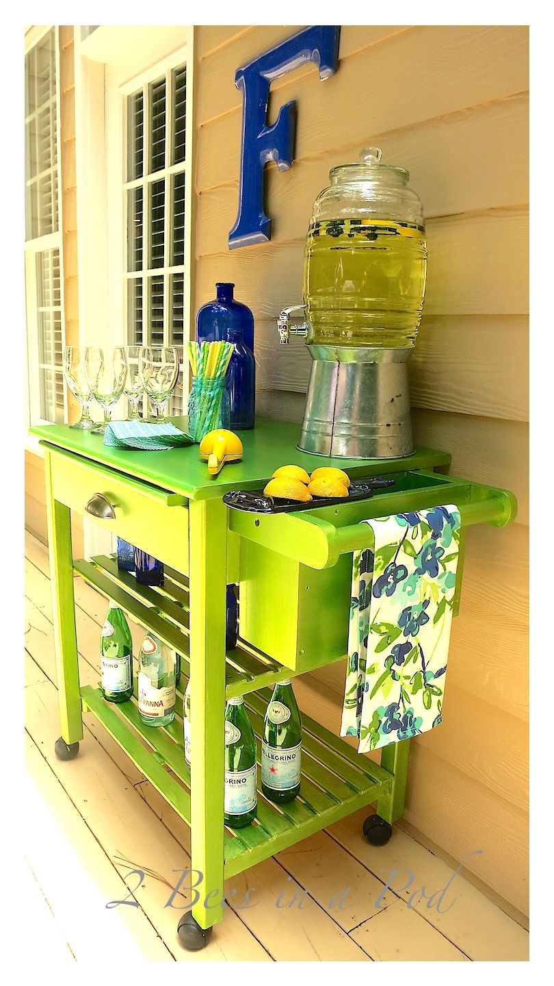 Microwave Cart Makeover To Bar Cart With Modern Masters Metallic Paint