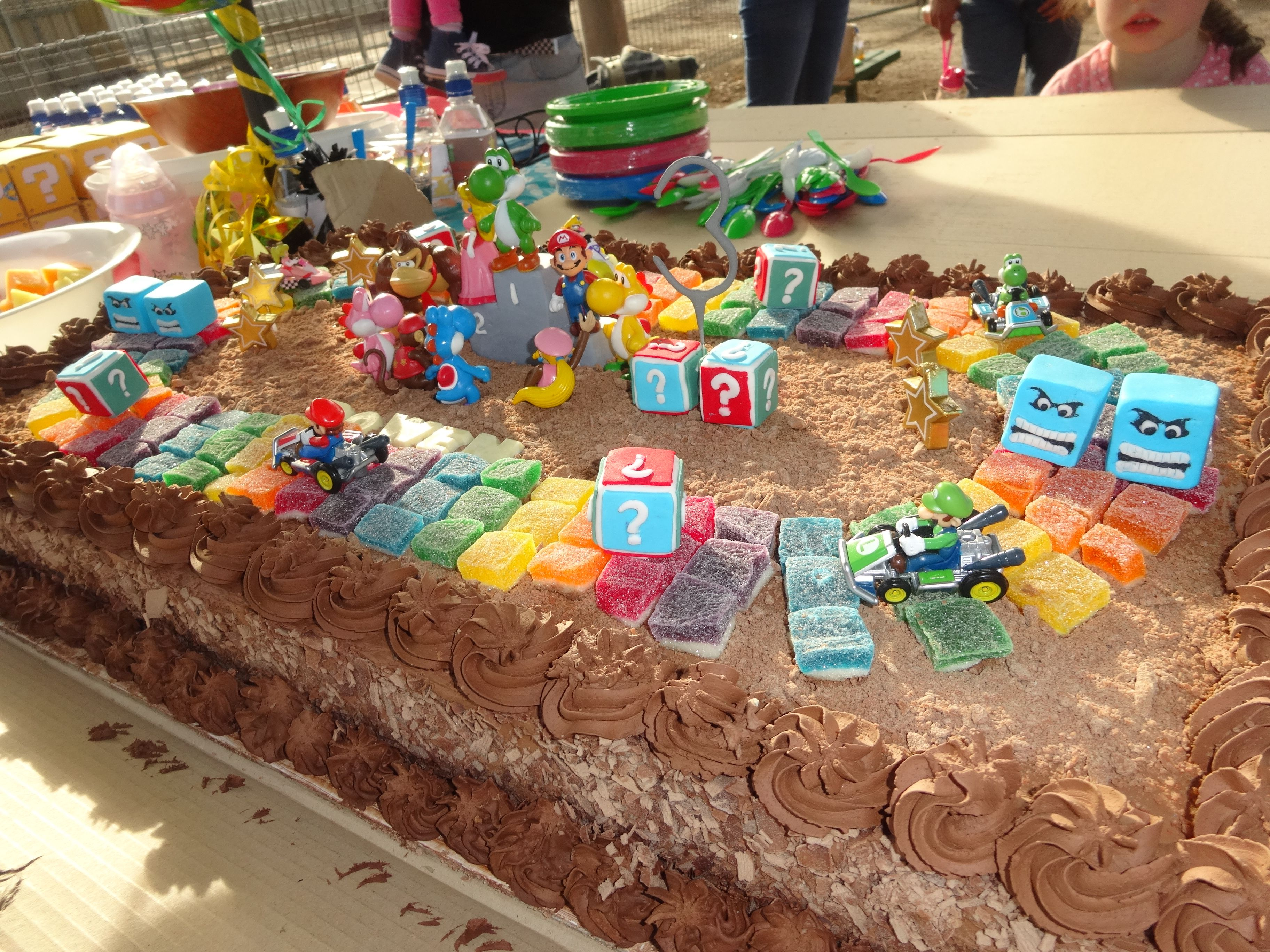 my mario kart rainbow road birthday cake cut jubes made a great on woolworths childrens birthday cakes