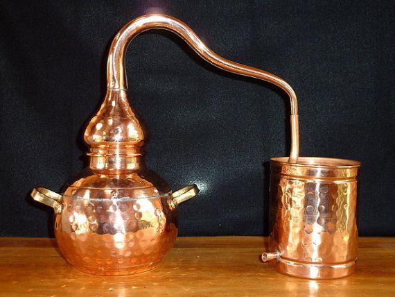 Home Garden Sized Copper Alembic Still 1.5 Liter - for distilling essential oils from lavender etc.