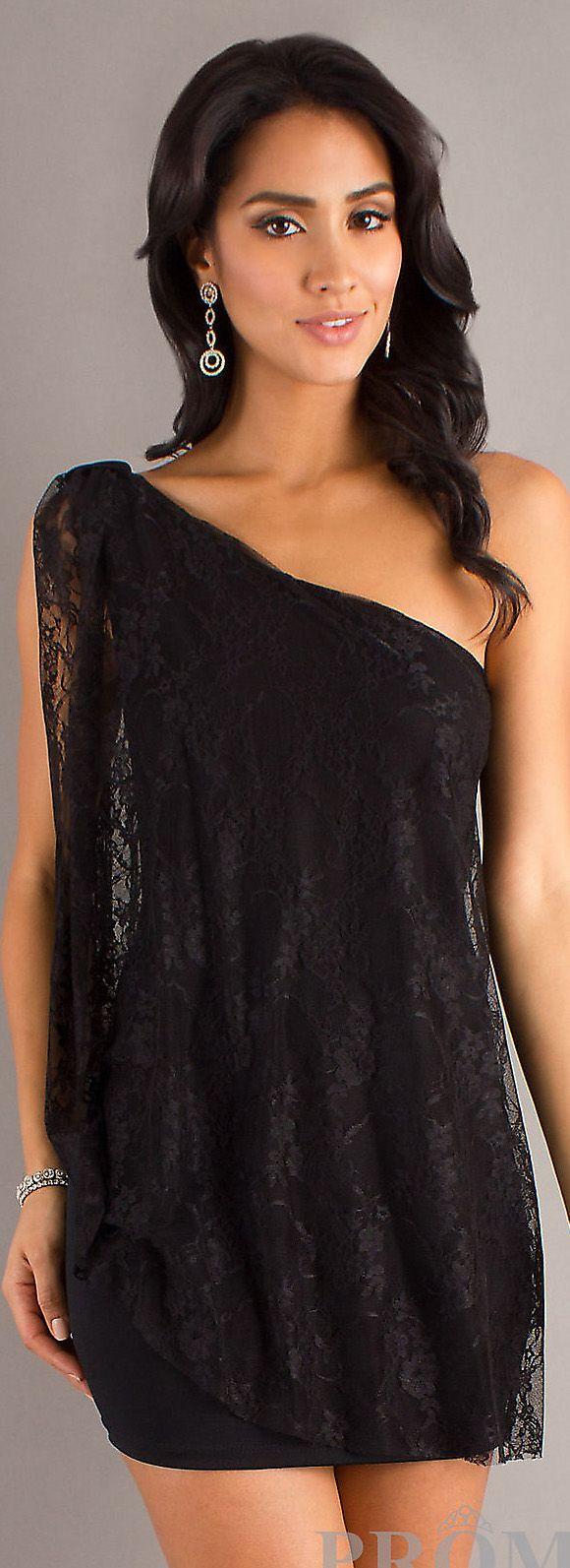 Mini Dress #oneshoulder #sexy #cocktail #dresses #lace #black