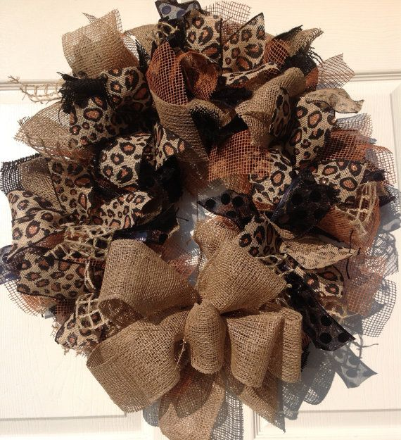 Photo of Leopard, Black and Natural Burlap Wreath with Rust Accents