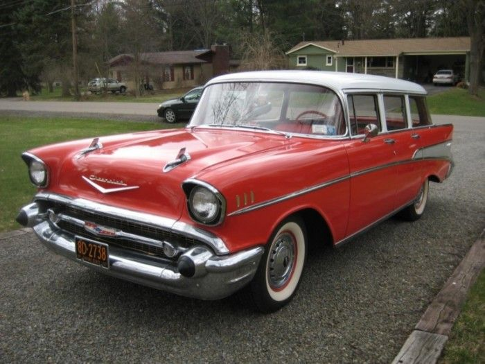 1957 chevrolet bel air station wagon matador red and india ivory v 8 hood ornaments and. Black Bedroom Furniture Sets. Home Design Ideas