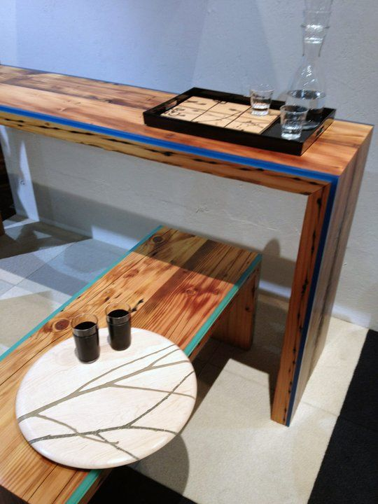 Magnificent Colorful Resin Lined Table And Bench By Noble Goods Epoxy Ibusinesslaw Wood Chair Design Ideas Ibusinesslaworg