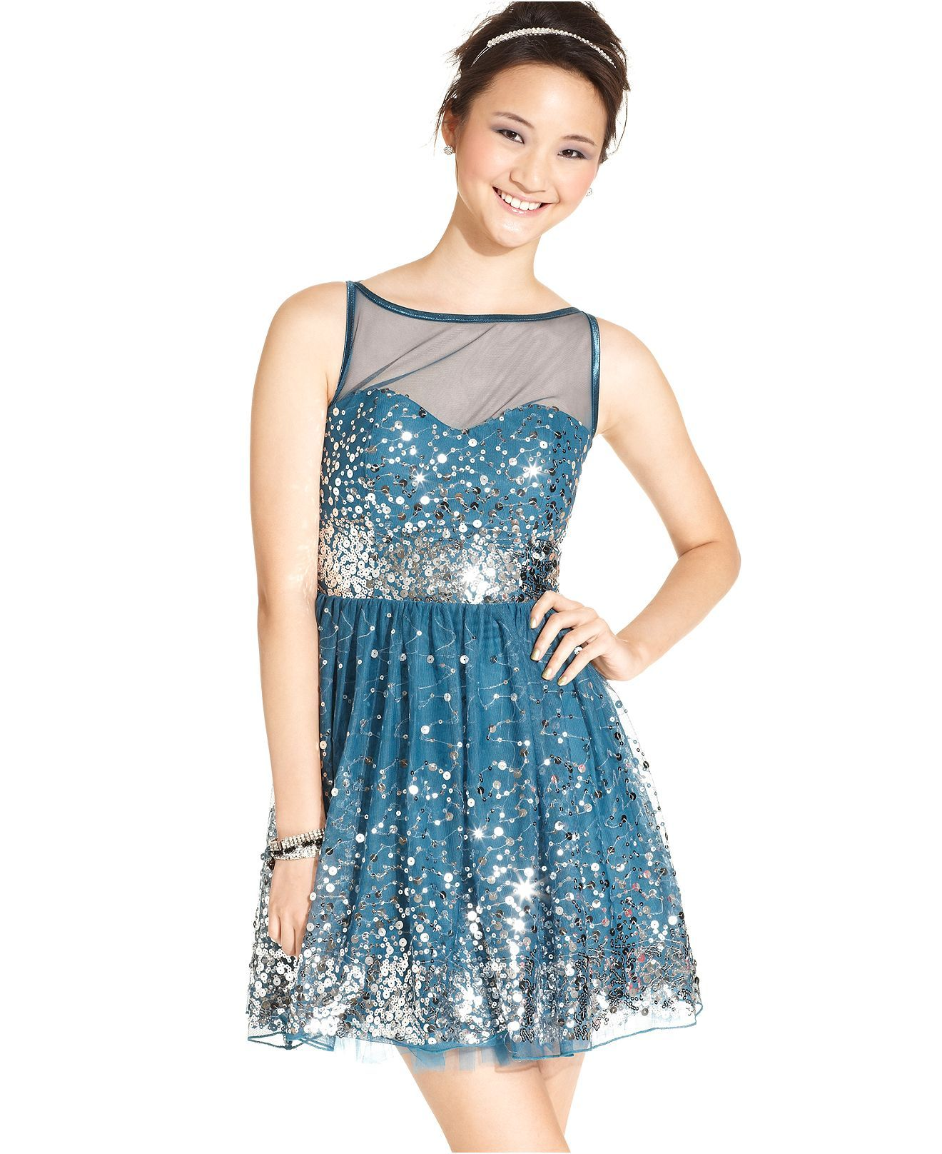 Ruby Rox Juniors Dress, Sleeveless Sequin A-Line - Juniors Prom ...