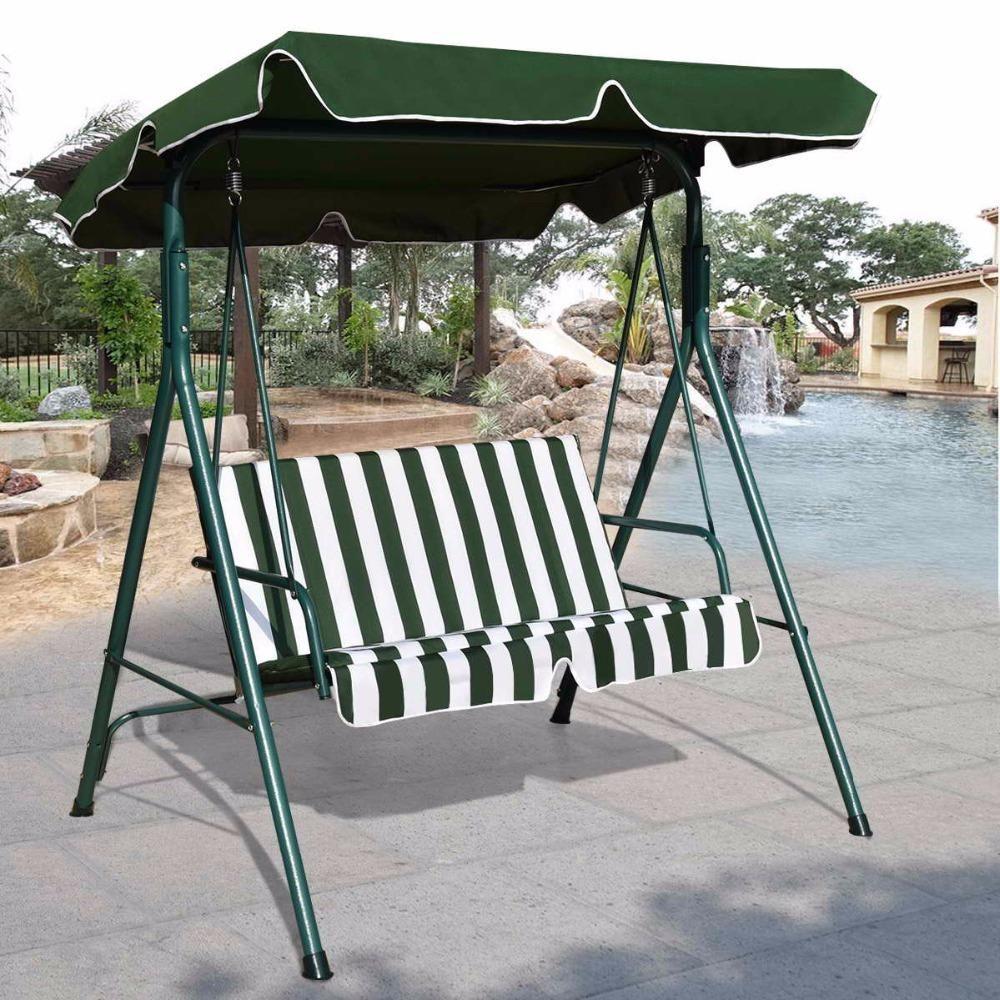 Loveseat patio canopy swing glider hammock cushioned steel frame