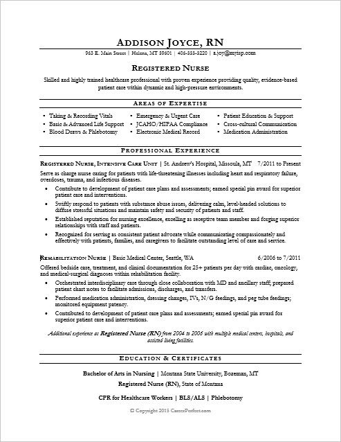 Resume For Registered Nurse Nurse Resume Sample  Pinterest  Sample Resume Nursing Resume And .