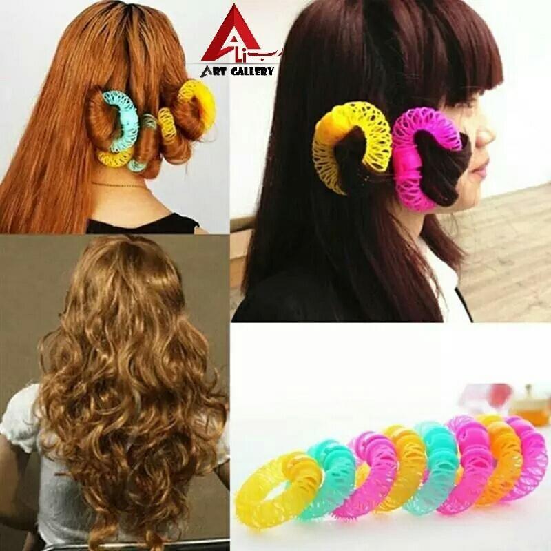 Fashion 8pcs Magic Hair Curler Spiral Curls Roller Donuts Curl Hair Styling Tool Hair Accessories Hair Rollers Magic Hair Curlers Hair Curlers