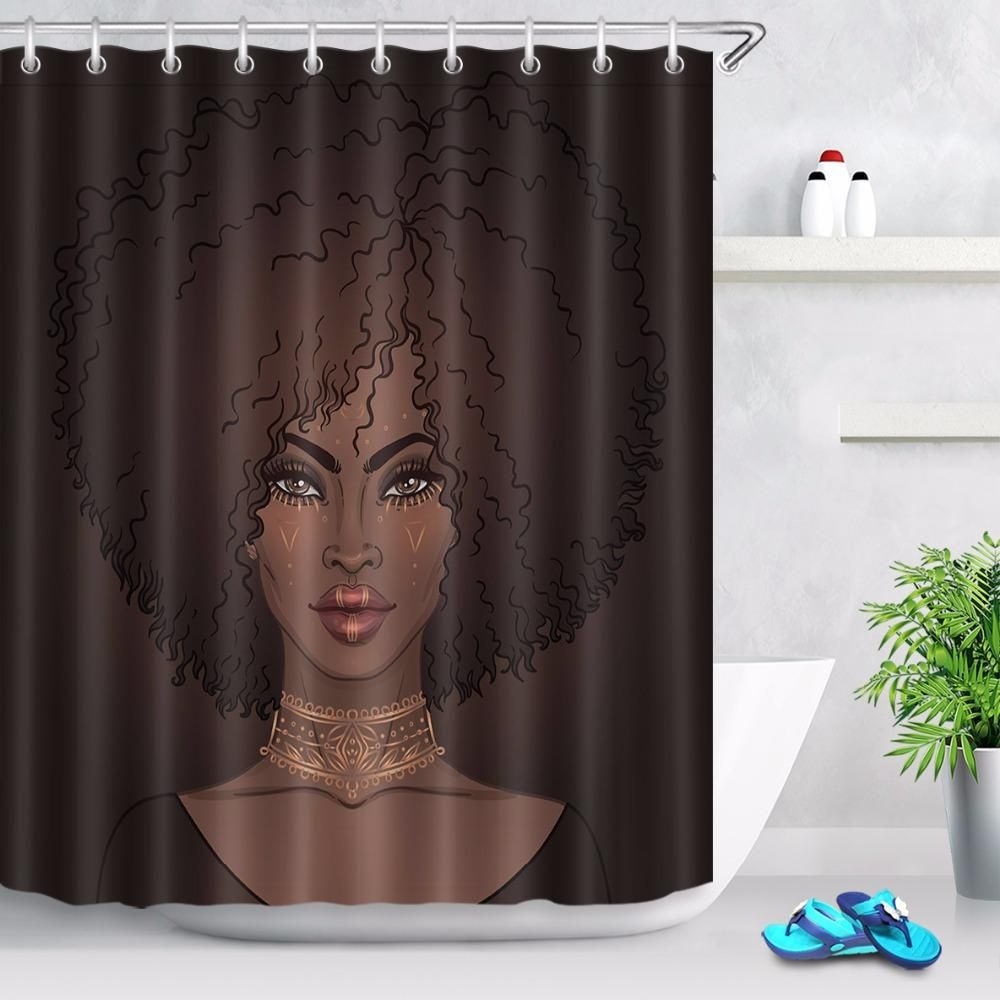 Beautiful African American Woman Shower Curtain Girls Shower Curtain Girls Bathroom Curtains Bathroom Shower Curtains