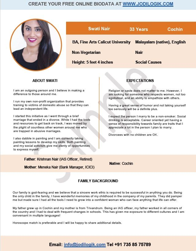 Matrimonial resume for girl