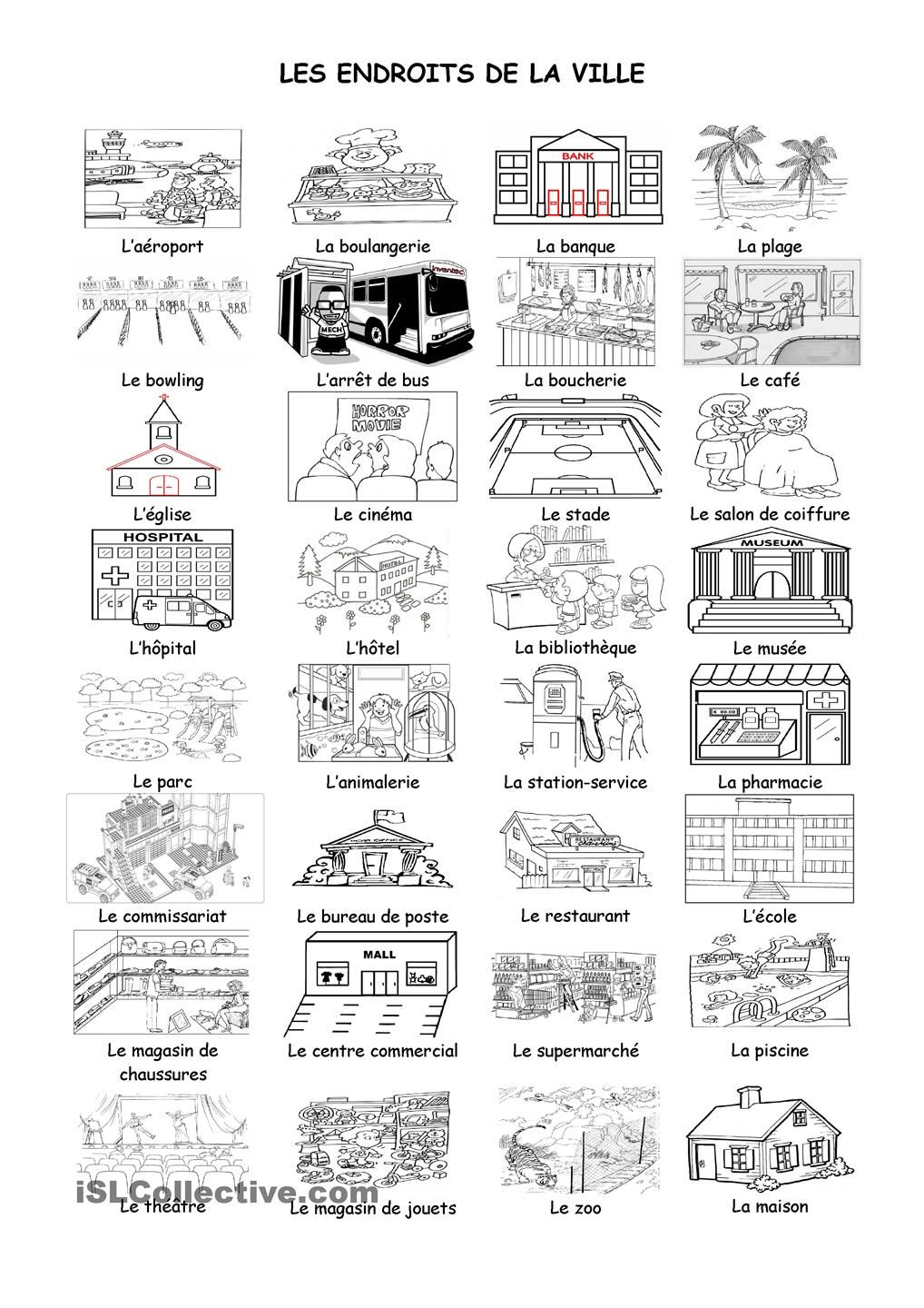 Worksheets Beginner French Worksheets les endroits de la ville french learning pinterest language core frenchfrench classworksheetsdigital