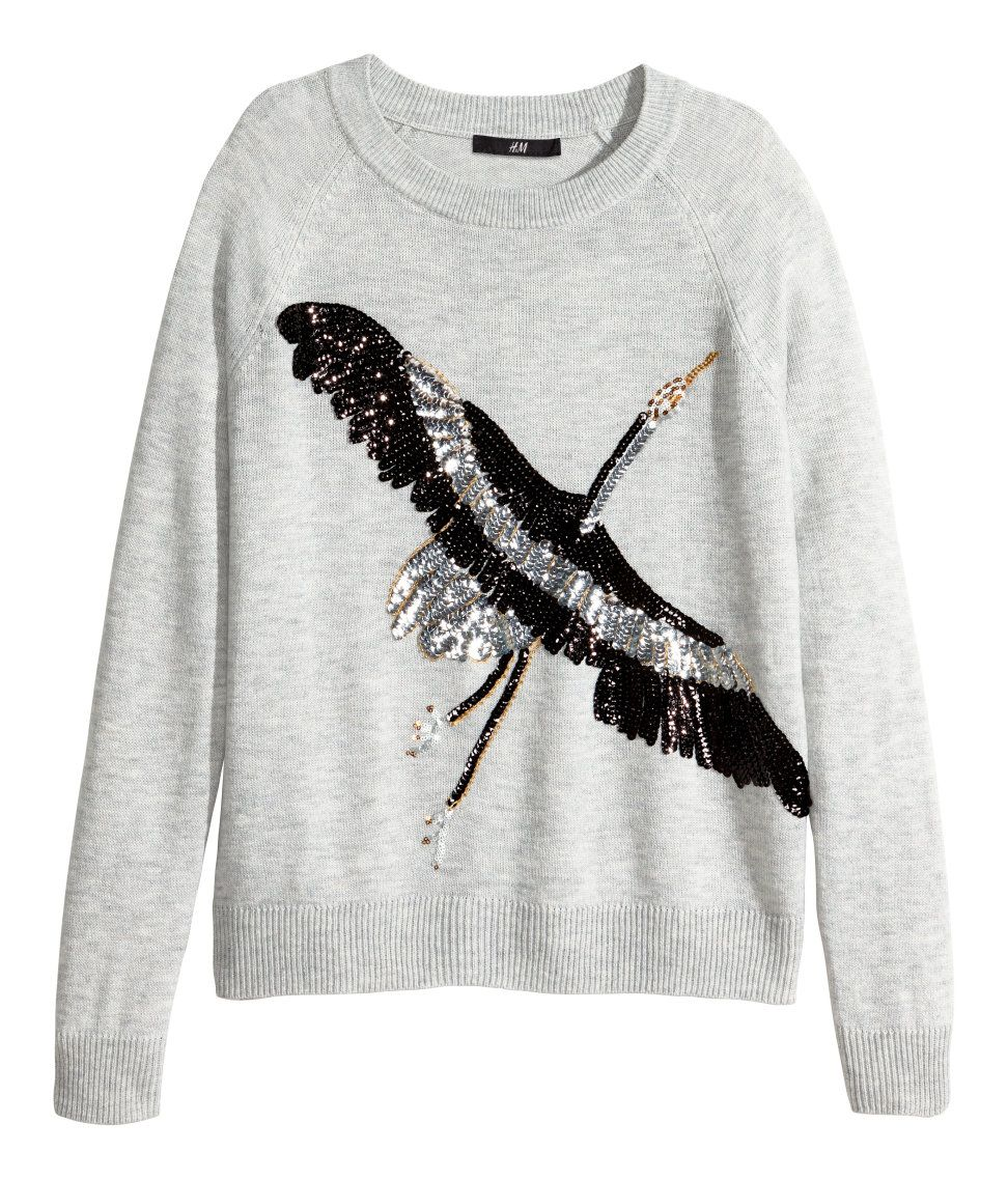 Light gray long-sleeved sweater with sequin bird embroidery.  5b7bbb8837