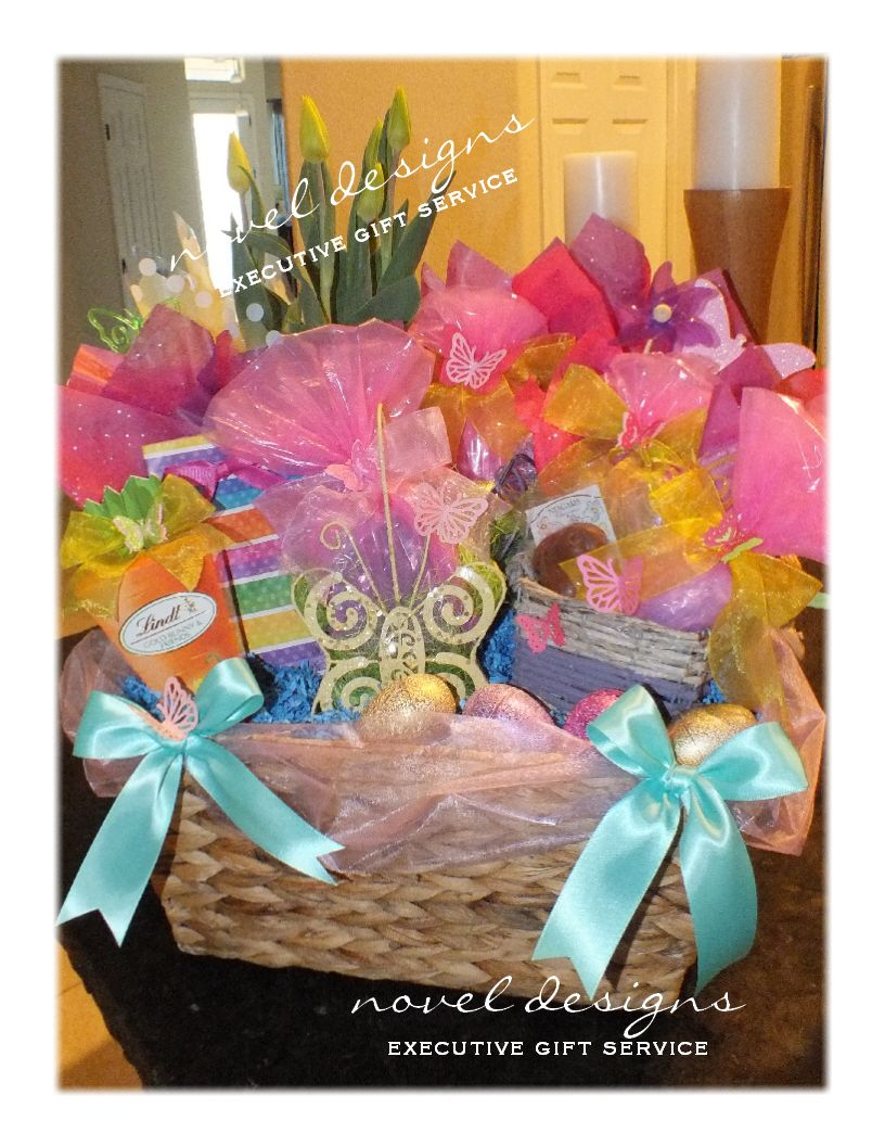 Custom elegant for her easter basket wtulips assorted gourmet custom elegant for her easter basket wtulips assorted gourmet chocolates fresh baked negle Image collections