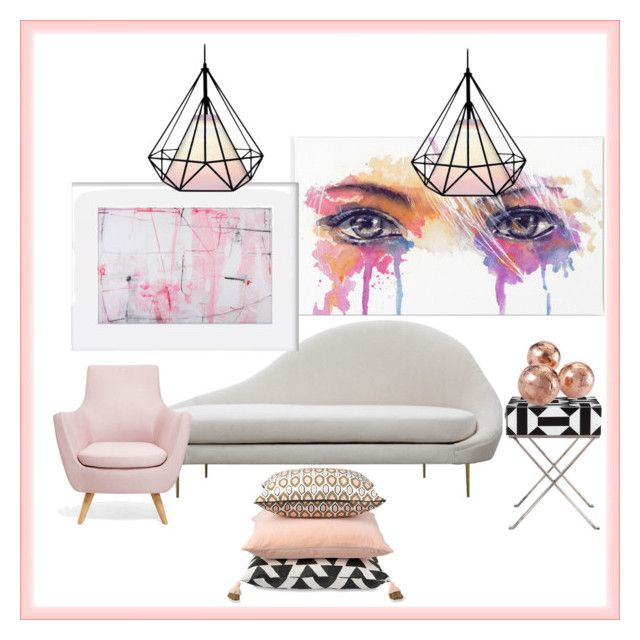 Modern Blush by cknott on Polyvore featuring interior, interiors, interior design, home, home decor, interior decorating, Shine by S.H.O, Uttermost and modern