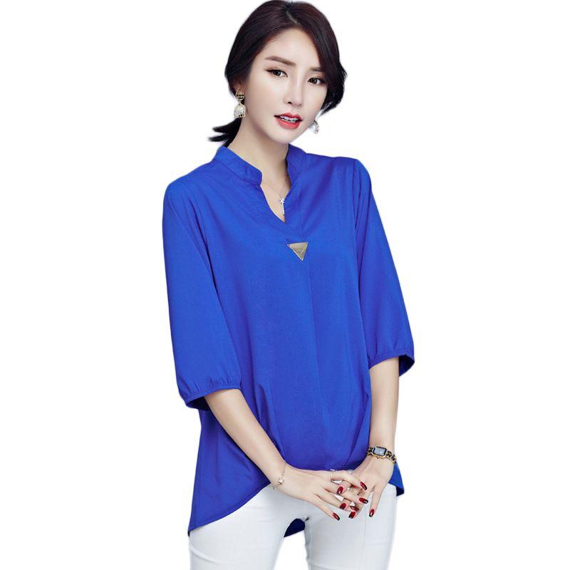 3d374782bab99 Plus Size Elegant Female Chiffon Blouses Three Quarter Sleeve V Neck Shirts  Women Sequined Blouse 2017