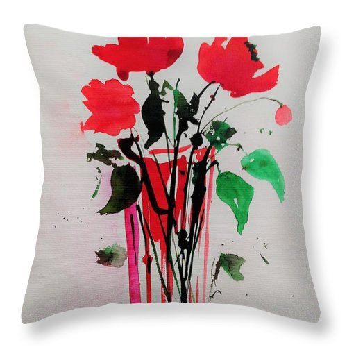 "Abstract Bouquet Throw Pillow by Britta Zehm. Our throw pillows are made from 100% spun polyester poplin fabric and add a stylish statement to any room. Pillows are available in sizes from 14"" x 14"" up to 26"" x 26"". Each pillow is printed on both sides (same image) and includes a concealed zipper and removable insert (if selected) for easy cleaning."