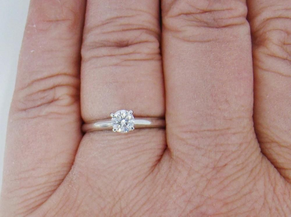 8c4376cfd691d NEW 14K WHITE GOLD CLASSIC ENGAGEMENT RING SOLITAIRE .40 CT ROUND ...
